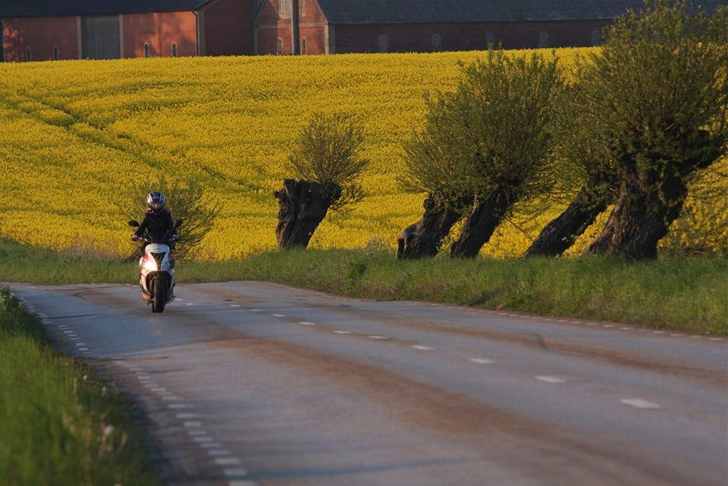 Mopedförare kör moped på landsväg